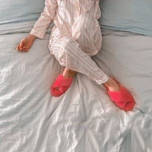 Fuzzy pink slippers!